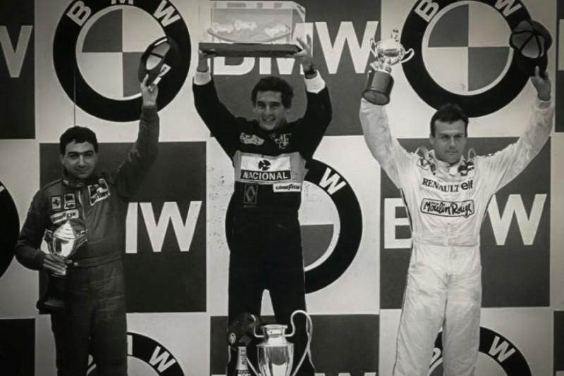 The Estoril GP Podium 1985 L R Michele Alboreto Ayrton Senna Patrick Tambay Credit Classic Team Lotus1000x667
